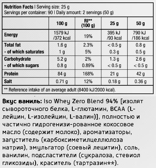 Iso Whey Zero от BioTech: подробный состав