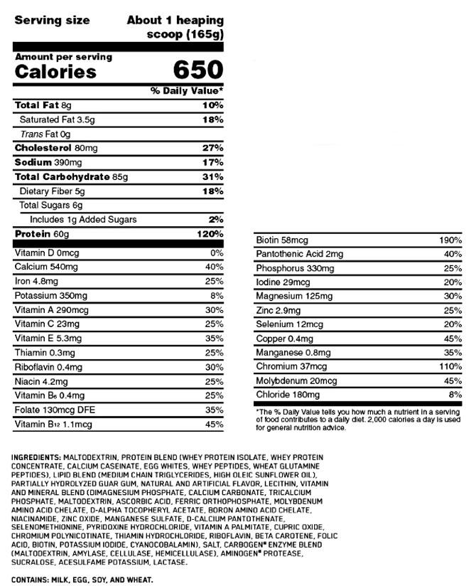 Pro Gainer от Optimum Nutrition: полный составк