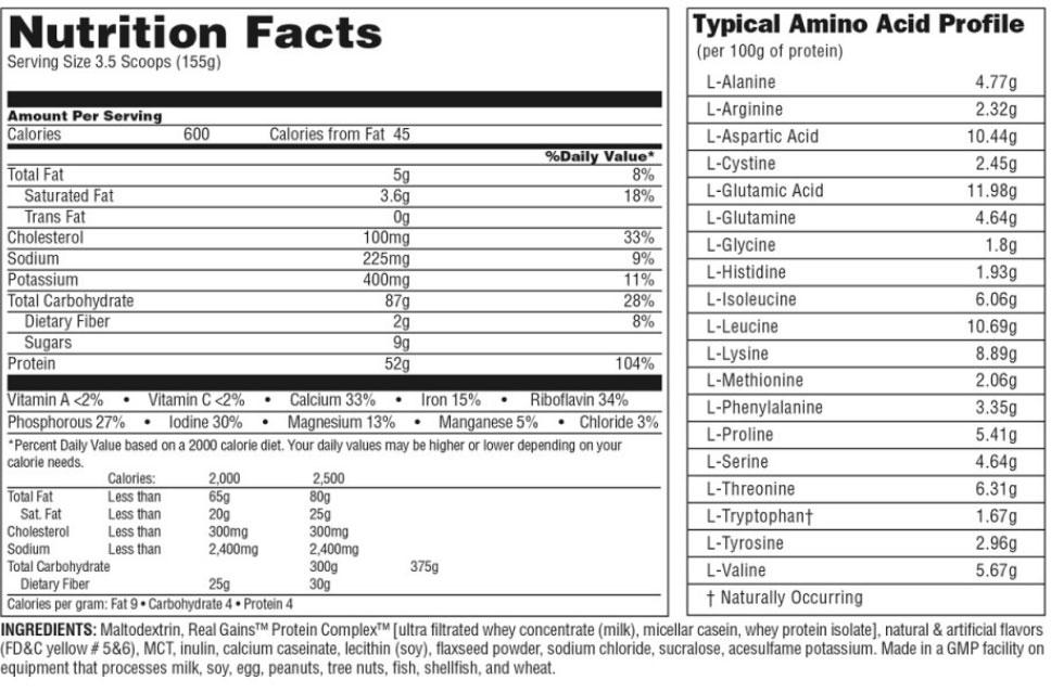 Real Gains от Universal Nutrition: описание и состав