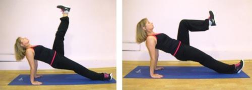 Подъемы  согнутых  и  прямых  ног (удержание  от  2  секунд  до 8) + отведение всторону